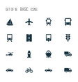 transport icons set collection of bicycle vector image vector image