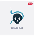 two color skull and snake icon from shapes vector image vector image