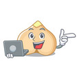 with laptop chickpeas character cartoon style vector image vector image