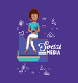 woman holding smartphone social media applications vector image vector image