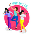 women trio karaoke background vector image vector image