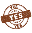 yes brown grunge round vintage rubber stamp vector image vector image