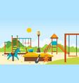 kids playground horizontal bars and swings park vector image