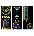 light neon cards labels font vector image