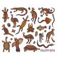 animals drawings aboriginal australian style vector image