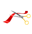 Scissors cut the red tape on white background vector image