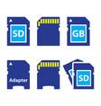 sd memory card adapter icons set vector image