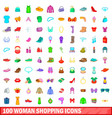 100 woman shopping icons set cartoon style vector image vector image
