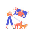 a girl on walk with dogs uses dating application vector image vector image