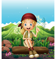 A smiling girl resting near the rocks vector image vector image