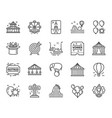 amusement park line icons set of carousels vector image