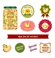 Apple Jam Jar And Labels vector image vector image