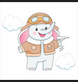 baelephant in aviator clothes with plane vector image vector image