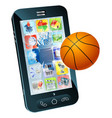 basketball ball cell phone vector image vector image