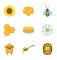 Beekeeping farm icons set cartoon style vector image vector image