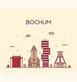 bochum skyline germany city linear style vector image vector image