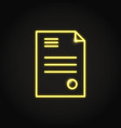 Business contract icon in neon line style