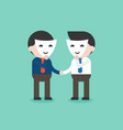 business people with smile mask shaking hands vector image vector image