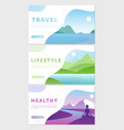 cartoon flat healthy lifestyle traveling concept vector image vector image