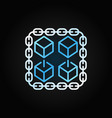 chain with cubes blue linear icon blockchain vector image vector image
