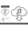 Cloud download music line icon vector image vector image