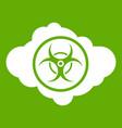 cloud with biohazard symbol icon green vector image vector image