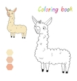 Coloring book lama kids layout for game vector image vector image