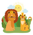 cute animals lion with crown and tiger grass vector image