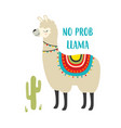 cute card with llama and cactus isolated vector image