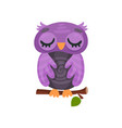 cute purple owlet sleeping on a branch sweet owl vector image vector image