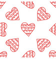 decorative red hearts seamless romantic pattern vector image