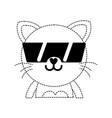 dotted shape happy cat adorable feline animal with vector image vector image