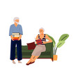 elderly couple hand drawn old people reading book vector image