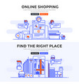 Flat design concept banner - online shopping and