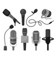 flat set of different microphones vector image