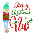 Girl holding a gift box with handwritten vector image vector image