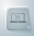 Glass square icon laptop with shopping cart vector image