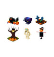 halloween related objects and creatures set user vector image vector image
