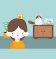 happy little boy with rabbit and fish in room vector image