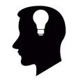 head silhouette with a lightbulb icon vector image