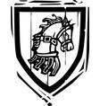 heraldic shield horse vector image vector image