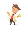 Mad professor wearing lab coat raising hands in vector image vector image