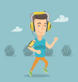 man running with earphones and smartphone vector image vector image