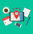 mobile map navigator with pin pointer marker on vector image vector image