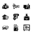 motor insurance icons set simple style vector image vector image