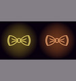 neon bow tie in yellow and orange color vector image vector image