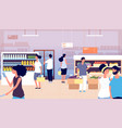 people in grocery store persons buy food vector image vector image