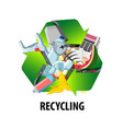 recycling label with different types of waste vector image vector image