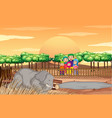 scene with people and elephant at zoo vector image vector image