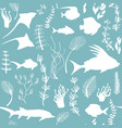 seamless pattern with fish silhouettes vector image vector image